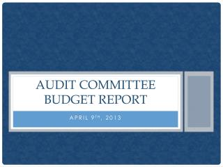 Audit Committee budget Report