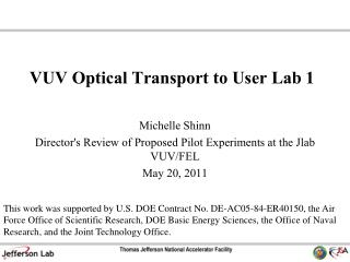 VUV Optical Transport to User Lab 1