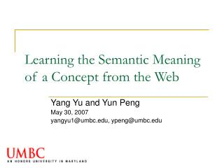 Learning the Semantic Meaning of a Concept from the Web