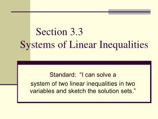 Section 3.3  Systems of Linear Inequalities