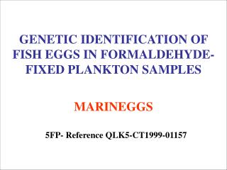 GENETIC IDENTIFICATION OF FISH EGGS IN FORMALDEHYDE-FIXED PLANKTON SAMPLES MARINEGGS