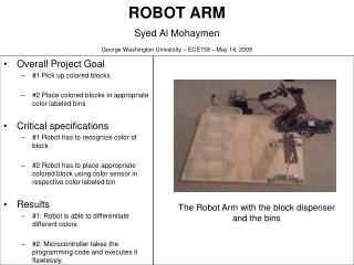 ROBOT ARM Syed Al Mohaymen  George Washington University – ECE158 – May 14, 2009