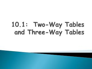 10.1:  Two-Way Tables and Three-Way Tables