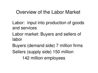 Overview of the Labor Market