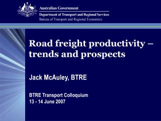 Road freight productivity – trends and prospects