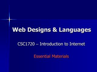 Web Designs & Languages
