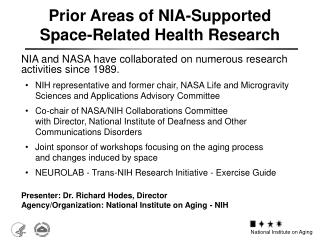 Prior Areas of NIA-Supported Space-Related Health Research