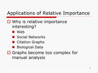 Applications of Relative Importance