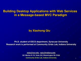 Building Desktop Application with Web Services in a Message ...