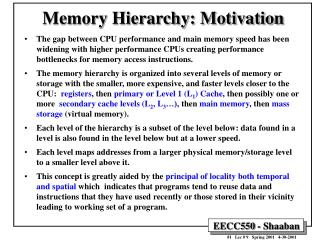 Memory Hierarchy: Motivation