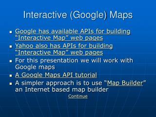 Interactive (Google) Maps