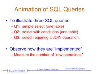 Animation of SQL Queries