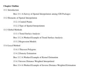 Chapter Outline 13.1 Introduction Box 13.1 A Survey of Spatial Interpolation among GIS Packages