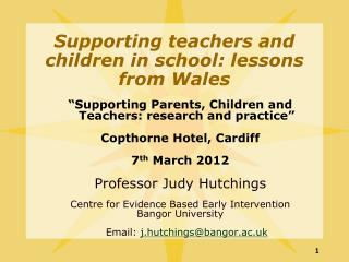 Supporting teachers and children in school: lessons from Wales