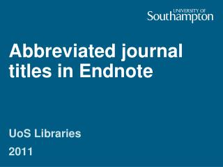 Abbreviated journal titles in Endnote