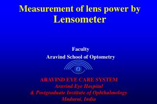 Measurement of lens power by  Lensometer