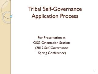Tribal Self-Governance Application Process