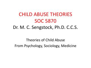 CHILD ABUSE THEORIES SOC 5870 Dr. M. C. Sengstock, Ph.D. C.C.S.