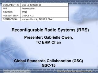 Reconfigurable Radio Systems (RRS)
