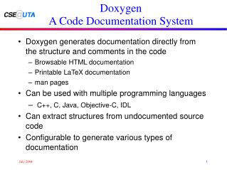 Doxygen A Code Documentation System