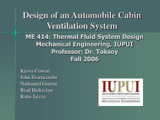 Design of an Automobile Cabin Ventilation System