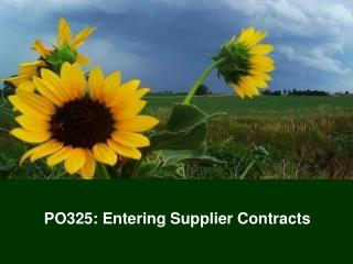 PO325: Entering Supplier Contracts