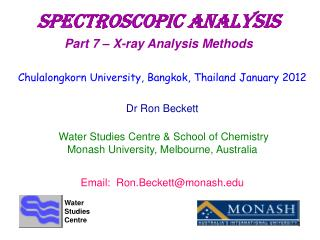 SpectroscopIC aNALYSIS Part 7 – X-ray Analysis Methods