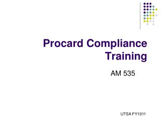 Procard Compliance Training