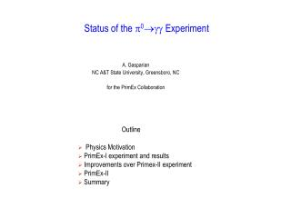 Status of the  ? 0 ???  Experiment