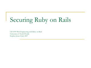 Securing Ruby on Rails