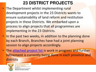 23 DISTRICT PROJECTS