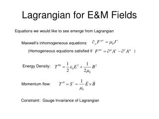 Lagrangian for E&M Fields