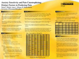 Anxiety Sensitivity and Pain Catastrophizing:  Distinct Factors in Predicting Pain