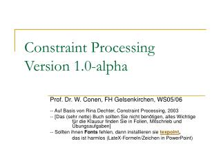 Constraint Processing Version 1.0-alpha