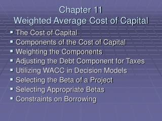 Chapter 11 Weighted Average Cost of Capital