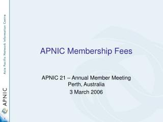 APNIC Membership Fees