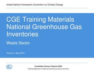 CGE Training Materials National Greenhouse Gas Inventories