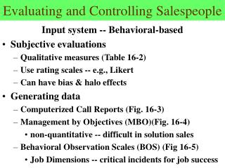 Evaluating and Controlling Salespeople
