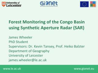 Forest Monitoring of the Congo Basin using Synthetic Aperture Radar (SAR)