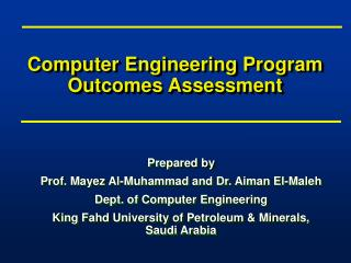 Computer Engineering Program Outcomes Assessment