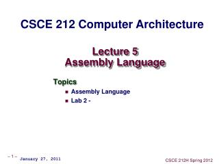Lecture 5 Assembly Language