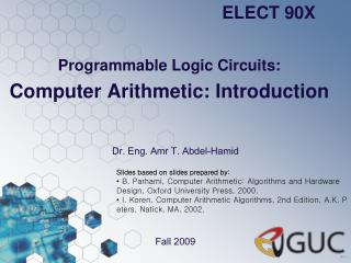 Programmable Logic Circuits: Computer Arithmetic: Introduction