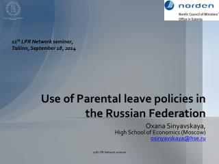 Use of Parental leave policies in the Russian Federation