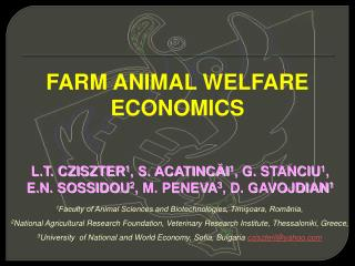 FARM ANIMAL WELFARE ECONOMICS