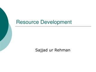 Resource Development