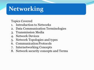 Topics Covered Introduction to Networks Data Communication Terminologies Transmission Media