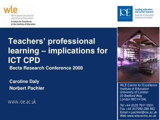 Teachers' professional learning – implications for ICT CPD