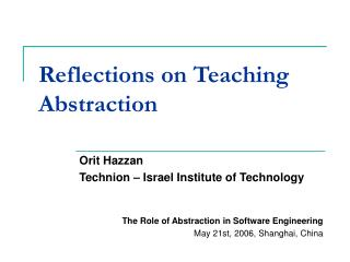 Reflections on Teaching Abstraction