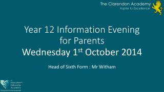 Year 12 Information Evening for Parents