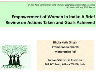 Bhola Nath Ghosh Premananda Bharati Manoranjan Pal Indian Statistical Institute